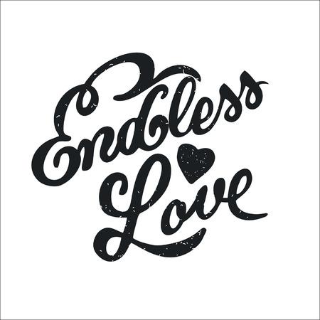 endless: Endless love. Vector illustration. Handwritten inscription.