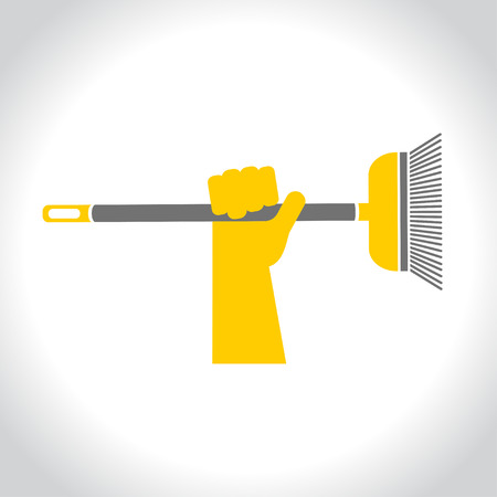 Cleaning, vector logo. Hand in rubber glove holding a broom Illustration