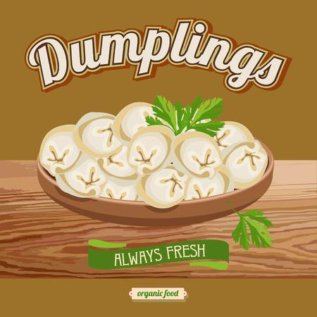 Dumplings. Ravioli. Vector illustration for restaurants and cafes.