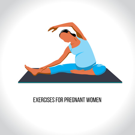 Yoga for pregnant, exercises for pregnant women, vector illustration Illustration