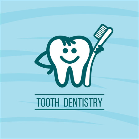oral hygiene: Dentist tooth and toothbrush. Vector logo of the dental clinic. The oral hygiene.