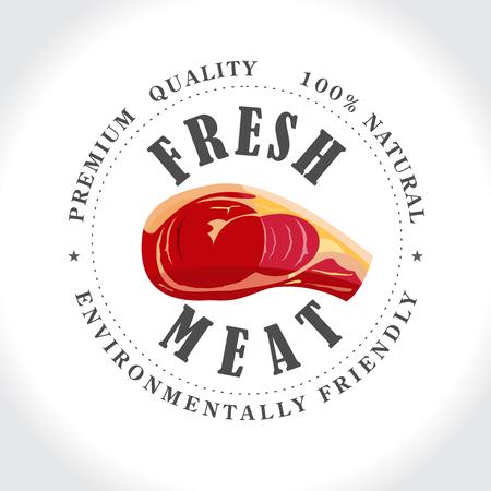 slaughter: Fresh meat, butcher shop, stamp, vector logo.