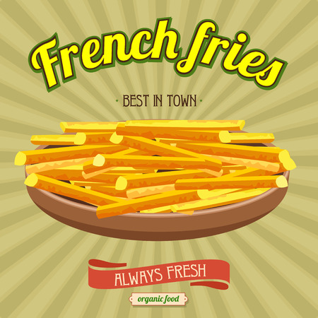 savoury: Fries. A natural product, the best in town. Vector illustration for restaurants and cafes.