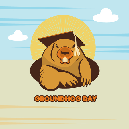 marmot: Groundhog Day.  Marmot in an academic cap climbed out of the hole. Vector illustration. Illustration