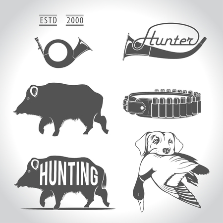 Hunting, design elements. Boar, wild duck, bandolier, hunting dog with duck in his mouth, hunting horn, reeds.
