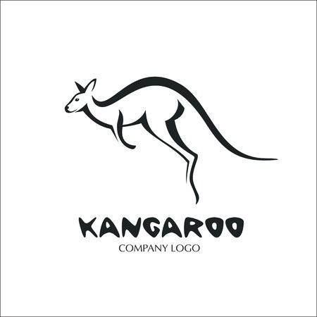 Kangaroo. Monochrome vector logo.