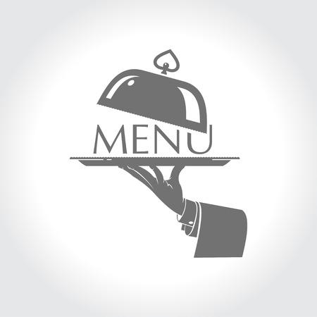 Menu, de hand van een ober met een bord Stock Illustratie