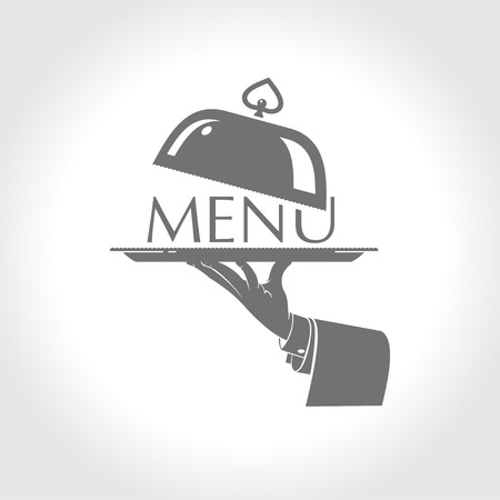 Menu, the hand of a waiter holding a platter