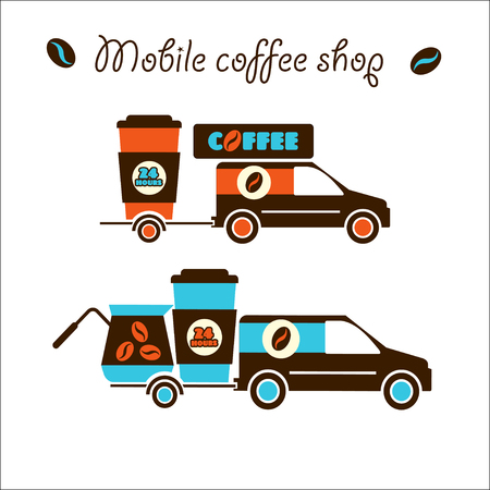 Mobile coffee shop. The car carries the coffee. Vector corporate identity, logo. Isolated objects. 24 hours, around the clock. Illustration