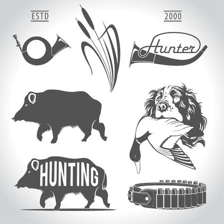 Jagen, design elementen. Boar, wilde eend, bandolier, jachthond met eend in zijn mond, jachthoorn, riet.