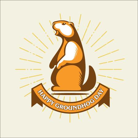 Marmot. Happy Groundhog day. Vector illustration, logo.