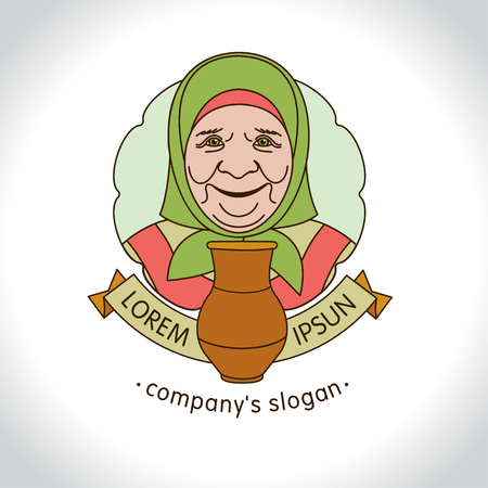 Old grandma with a jug of milk. Vector logo
