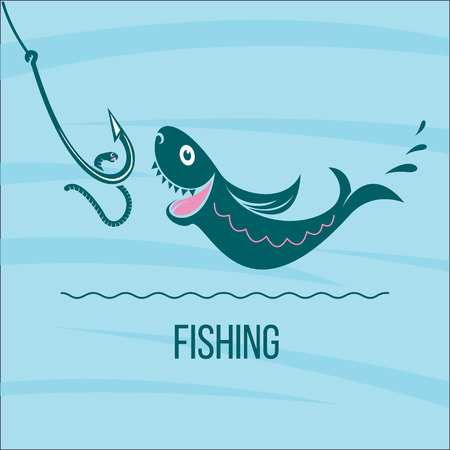 salmon leaping: Fishing. Big fish and fishing hook with a worm. Vector illustration, logo.