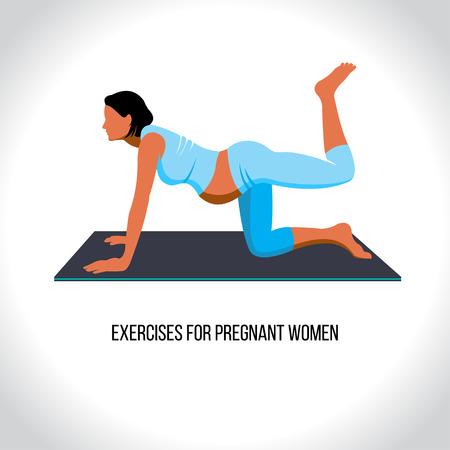 Yoga for pregnant, exercises for pregnant women, vector illustration Illustration
