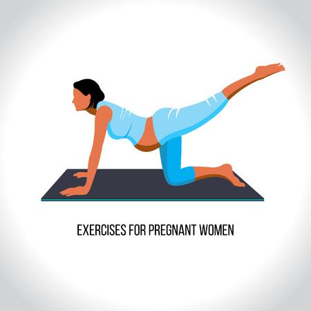 pregnancy exercise: Yoga for pregnant, exercises for pregnant women, vector illustration Illustration
