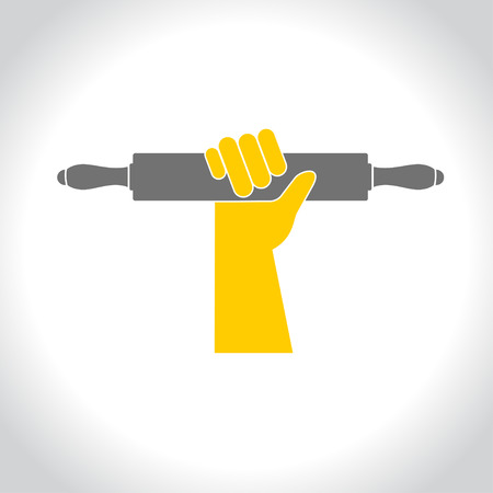 rolling pin: ooking. Vector pictogram. A hand holding a rolling pin.