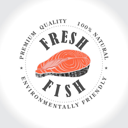 salmon steak: Fresh fish stamp, logo. Illustration