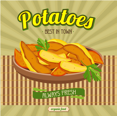 bamboo mat: Fried potatoes. A natural product, the best in town. Vector illustration for restaurants and cafes. Illustration