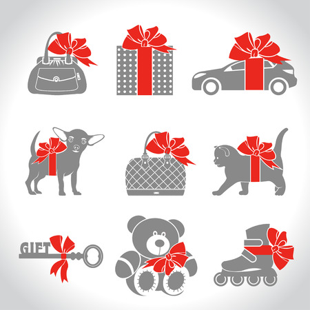 puppy and kitten: Set of vector icons, gifts. Kitten, puppy, car, key, Teddy bear, roller skates, womens handbag decorated with a red bow. Illustration