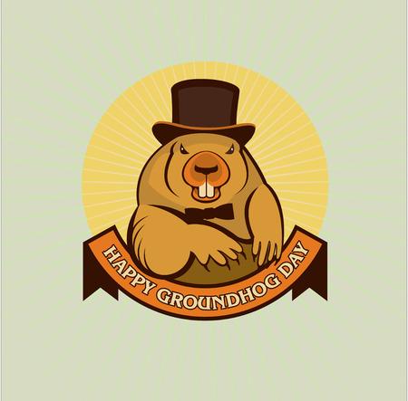 marmot: Groundhog Day. Marmot in the cylinder. Spring. Vector illustration.