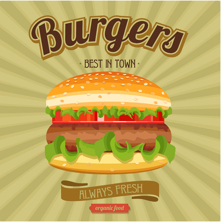 Hamburger. Great, always fresh, best in town. Vector illustration for restaurants and cafes.