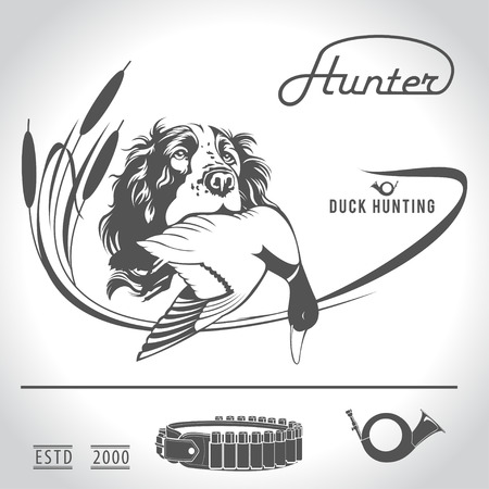 goose club: Hunting logo hunting dog with a wild duck in his teeth and design elements. The outfit of the hunter.