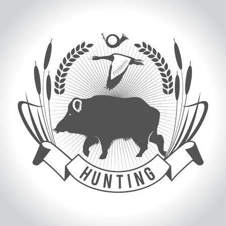 狩猟。ハンティングのロゴ。猪と鴨。デザインの要素。  イラスト・ベクター素材