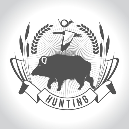 goose club: Hunting. Hunting logo. Wild boar and wild duck. The elements of design.