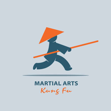 punching: Kung fu. Martial arts of the East. Vector logo.