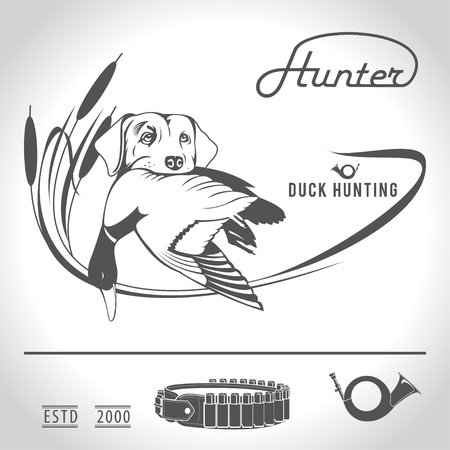 hunting dog: Hunting logo hunting dog with a wild duck in his teeth and design elements. The outfit of the hunter.