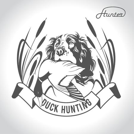 Caccia cane da caccia con un anatra selvatica tra i denti ed elementi di design. Il vestito del cacciatore. Vettoriali