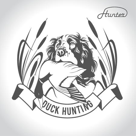 goose club: Hunting hunting dog with a wild duck in his teeth and design elements. The outfit of the hunter. Illustration