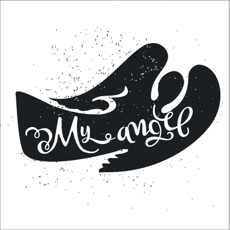 romantic date: Dirty cartoon romantic poster. Angel with a cute Quote on a Valentines Day card or a card with an invitation for a date. Inspiring vector typography.