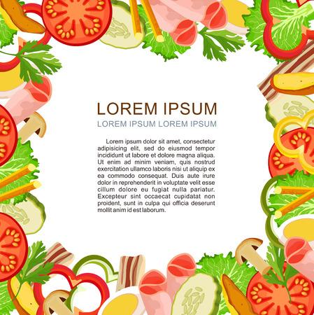Producten, levensmiddelen. Vector illustratie, pagina menu met plaats voor tekst.