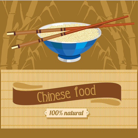 bamboo mat: Rice and Chinese chopsticks. Chinese food. Vector illustration for restaurants and cafes.