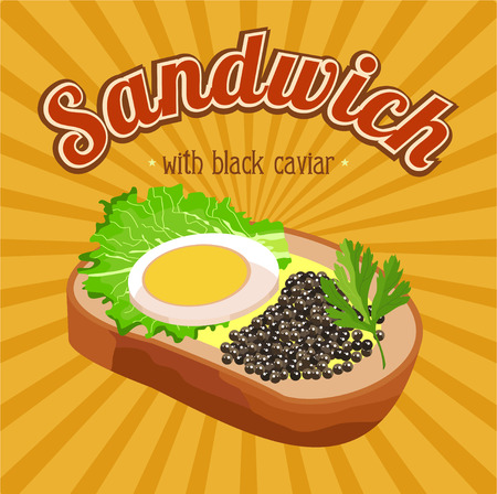 Sandwich with black caviar. Vector illustration for restaurants and cafes.