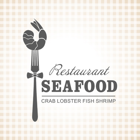 Restaurant, fish dishes, seafood. Shrimp on a fork. Vector.