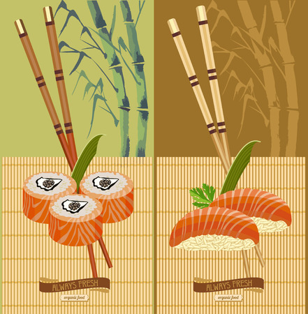 japanese cuisine: Set of sushi. Vector illustration for cafes, restaurants of Japanese cuisine.