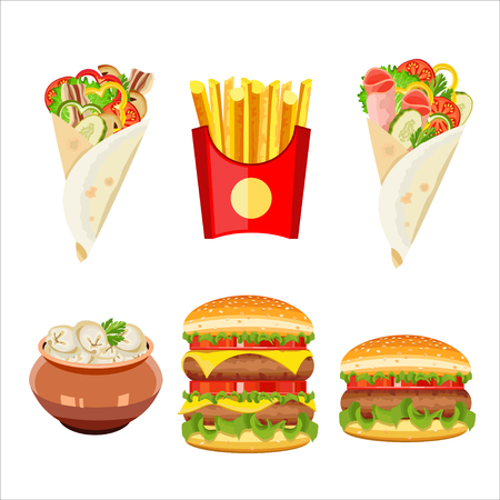 russian cuisine: Set of vector isolated illustration, food. Dumplings, French fries, hamburger, cheeseburger, gyros.