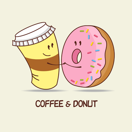 A Cup of coffee and a donut, love forever. Coffee and donut hug. Comic, cartoon. Vector illustration.