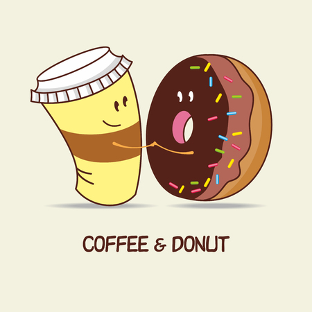 A Cup of coffee and a donut, love forever. Comic, cartoon. Vector illustration.