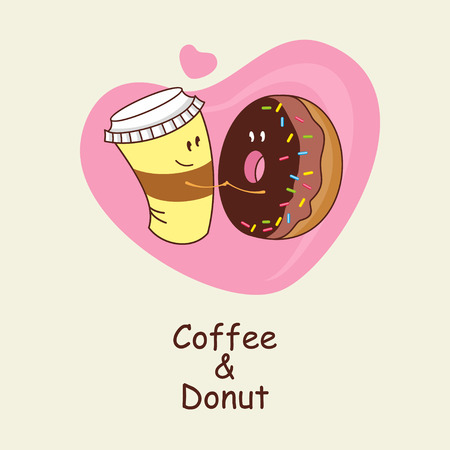 amigos abrazandose: A Cup of coffee and a donut, love forever. On the background of heart of coffee and a donut hug. Comic, cartoon. Vector illustration.