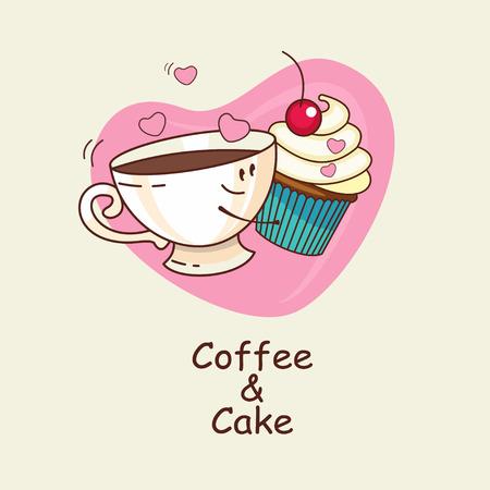 背景中心でコーヒーとケーキが永遠に大好きです。コーヒーとケーキの抱擁。コミック、漫画。ベクトルの図。