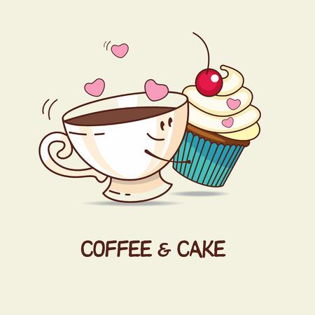 amigos abrazandose: Café y pastel, amor para siempre. El café y el abrazo de la torta. Historietas de dibujos animados. Ilustración del vector.