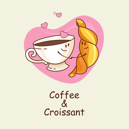 amigos abrazandose: Coffee and croissant, love forever. Vector illustration of a comic. A Cup of coffee and a croissant on a background of hearts.
