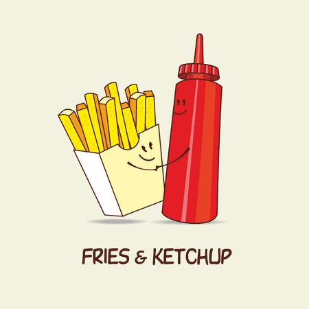 French fries and ketchup, forever. Fries and ketchup hug. Comic, cartoon. Vector illustration.