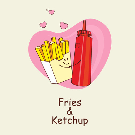 cuddling: French fries and ketchup, forever. Fries and ketchup hugging in the background of the heart. Comic, cartoon. Vector illustration.