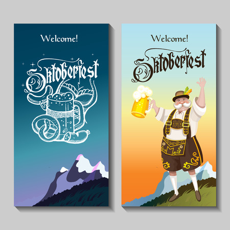 european alps: Oktoberfest. A set of posters. German landscape in national costume with a beer . Beer mug hand drawn.