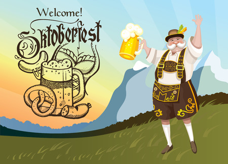 german beer: Oktoberfest. A truly German national costume with a beer amid the scenery.