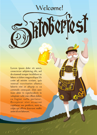 national costume: Oktoberfest. Cheerful Bavarian landscape on the background in national costume with a beer.